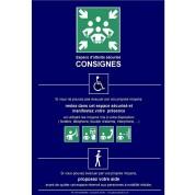 Panneau de consignes pour espace d'attente sécurisé PMR