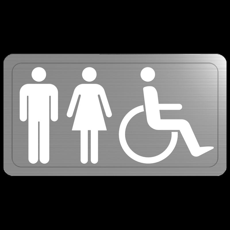 Plaque inox handicapé mixte DELABIE 510155S
