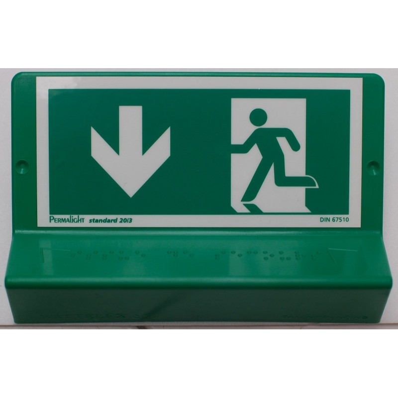 Support de signalisation issues de secours symbole et braille - bas gauche