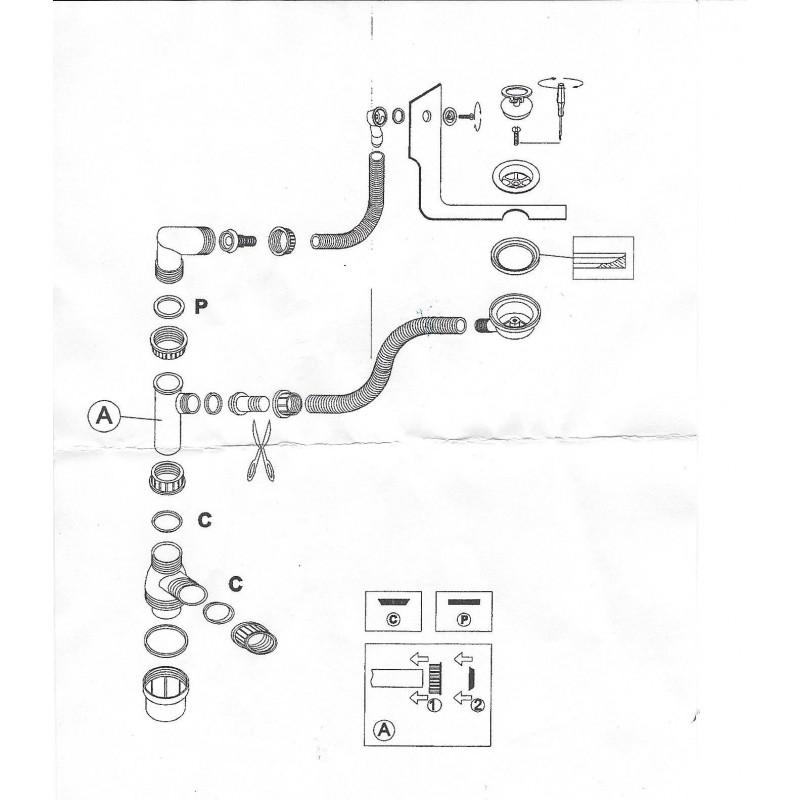 Siphon déporté et tubulure pour lavabo