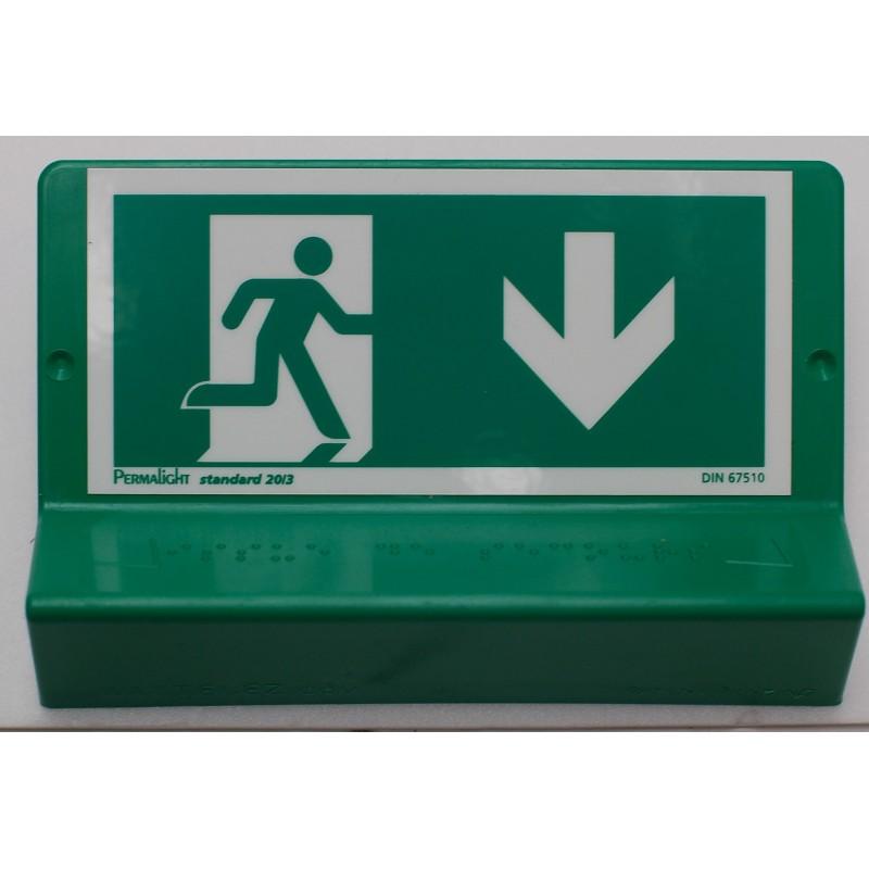 Support de signalisation issues de secours symbole et braille