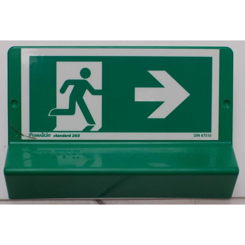 Support de signalisation issues de secours symbole et braille - droit
