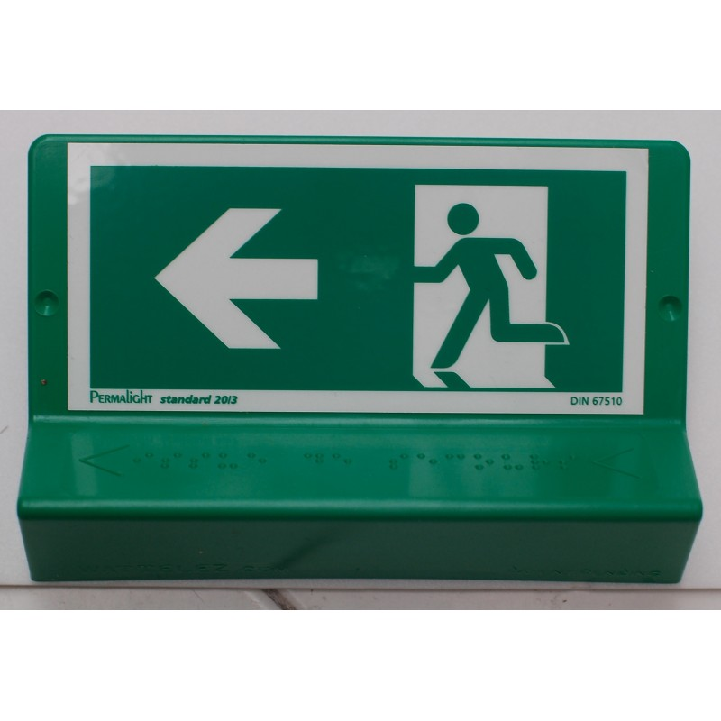 Support de signalisation issues de secours symbole et braille