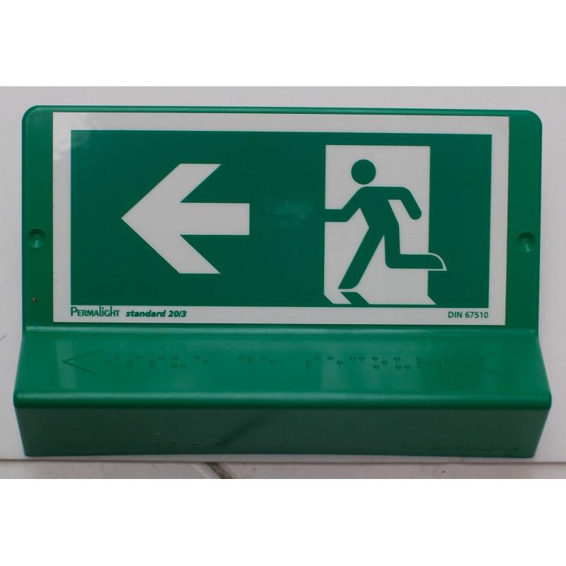 Support de signalisation issues de secours symbole et braille - gauche