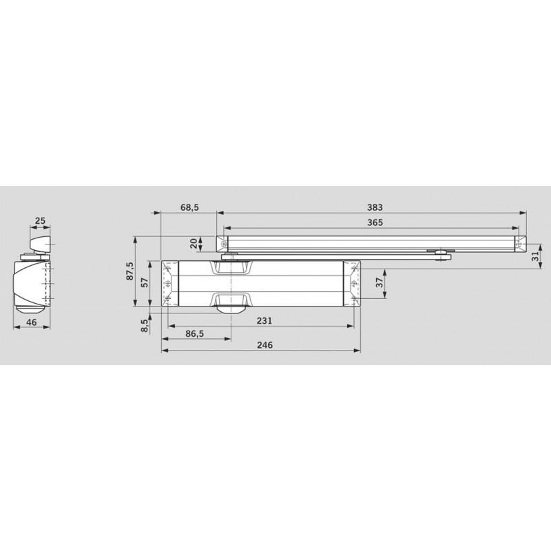 Ferme porte DORMA TS 90 H - mesure