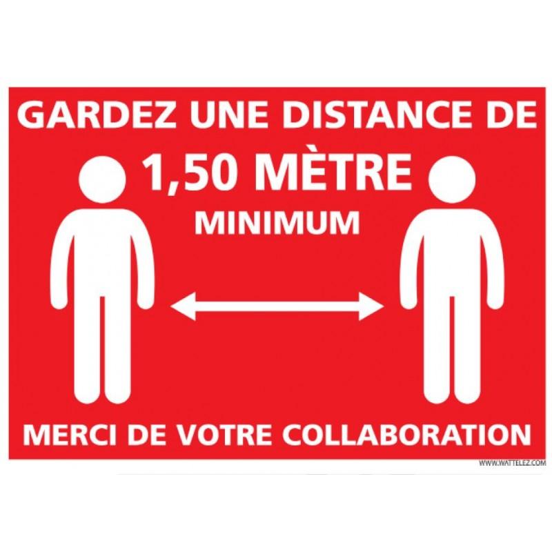 Signalétique adhésif mur - Garder une distance de 1M50