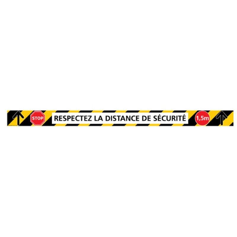 Signalétique adhésif sol - lot de 6 bandes distance de sécurité