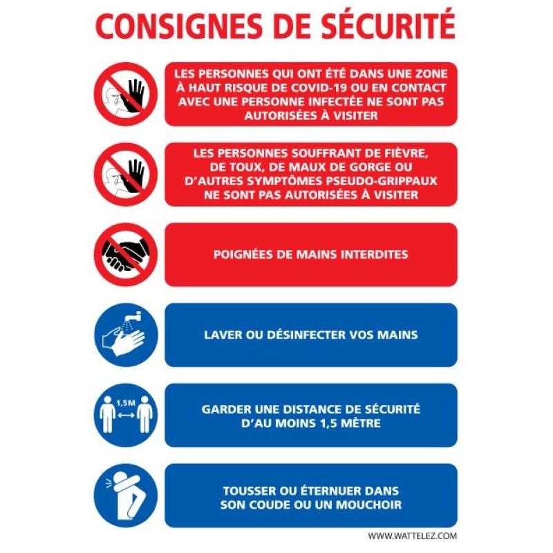 Signalétique adhésif mur - Consignes de sécurité