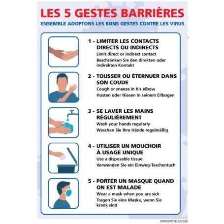 Signalétique adhésif mur - les 5 gestes barrières