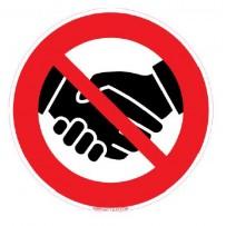 Signalétique adhésif mur - poignées de mains interdites