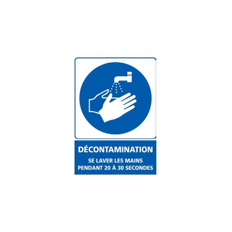 Signalétique adhésif mur - Décontamination se laver les mains