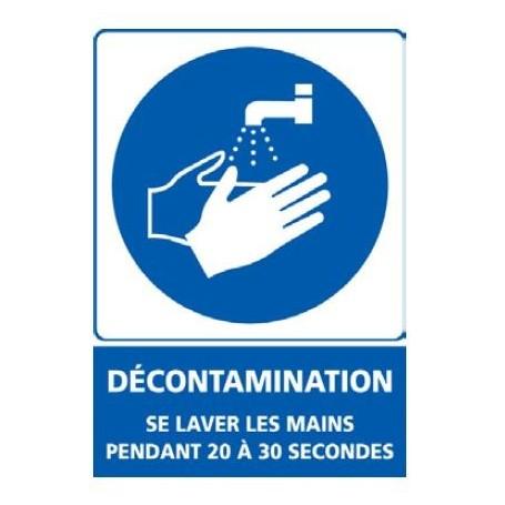 Signalétique adhésif mur - Décontamination se désinfecter les mains