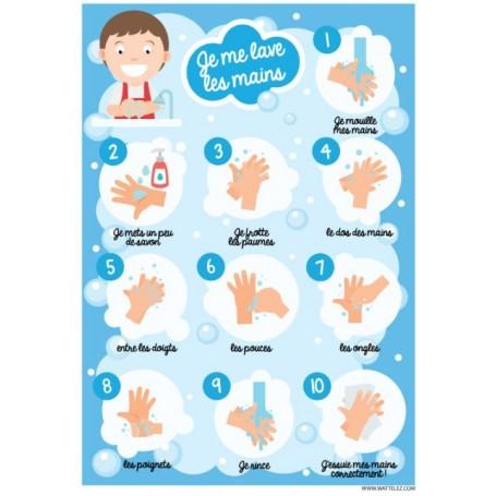 Signalétique adhésif - Je me lave les mains Enfants