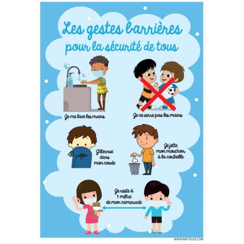 Signalétique adhésif - les gestes barrières Enfants