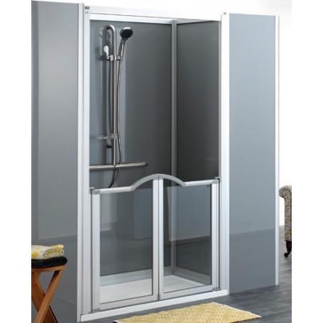 Cabine de douche option Evolution - PMR, paroi mi-hauteur chromé