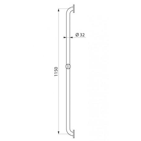 Barre droite avec coulisseau Ø 32, nylon blanc - mesure